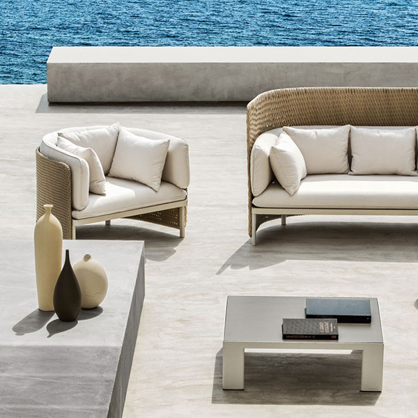 sea breeze: high back 3-seater sofa, high back lounge armchair, lounge armchair w/ ceramic top square and round coffee table