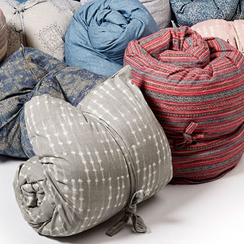 throw beds can be bundled and tied for easy storage