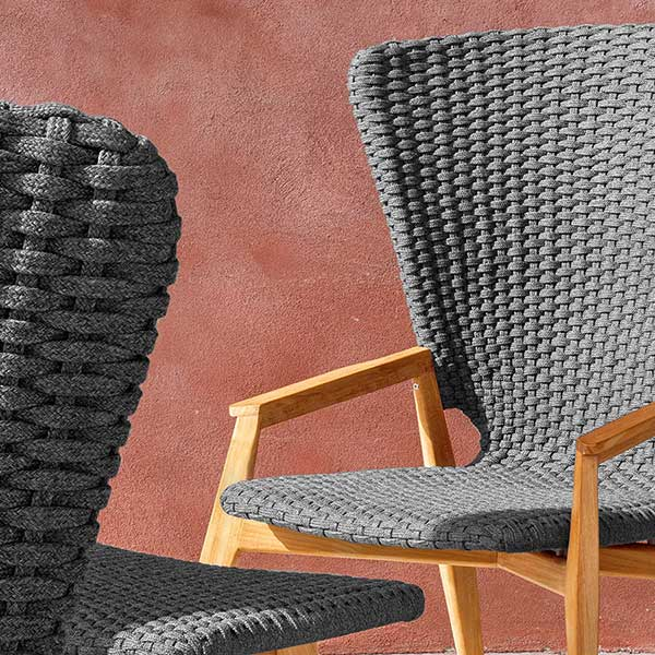 the fine details: up-close of the flat rope weave in lava grey