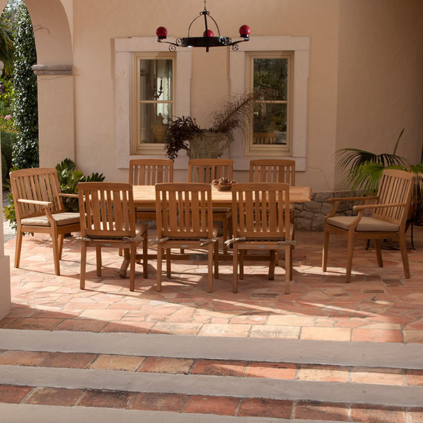 """two dining armchairs, six dining chairs with 110"""" dining table"""