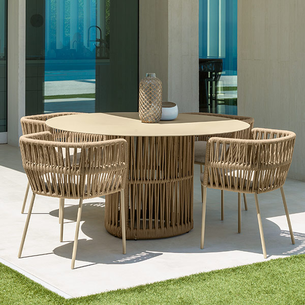 """some like it round: cliff 55"""" circular dining table paired with four cliff dining armchairs (color: beige)"""