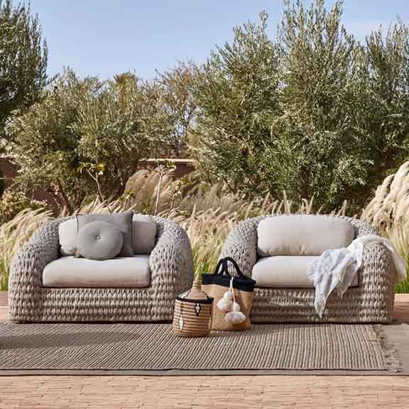 desert style: two kobo 1-seaters in pepper-colored outdoor rope (UV resistant | easy to clean)