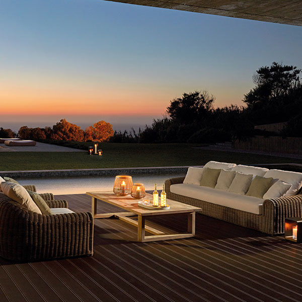 spend long evenings outside: river 3-seater sofa paired with two river 1-seater chairs