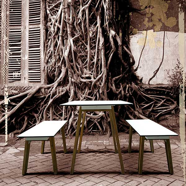 """summer house setting: sato 53"""" bistro table with 53"""" bistro benchimage provided courtesy of mamagreen, llc."""