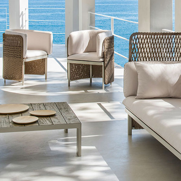 airy and dramatic: high back 3-seater sofa, 2 dining armchairs w/ pickled teak square coffee table