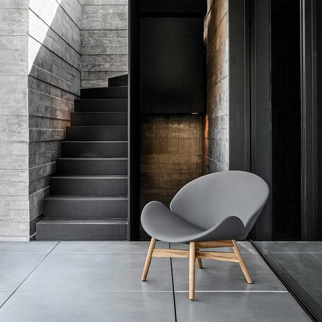 dansk lounge chair in outdoor leather grayimage provided courtesy of gloster furniture, inc.