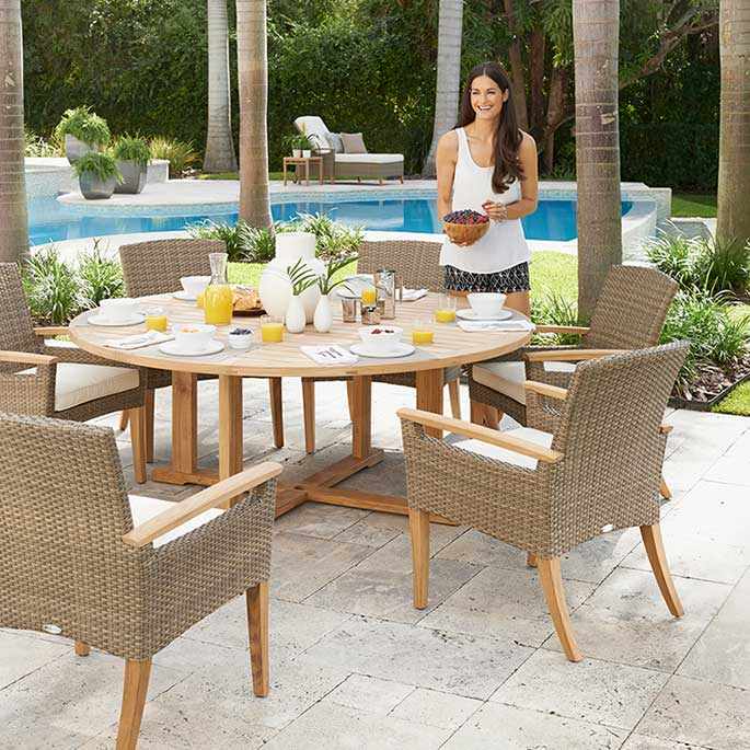 six pepper marsh dining armchairs with optional seat pad cushionsimage provided courtesy of gloster furniture, inc.