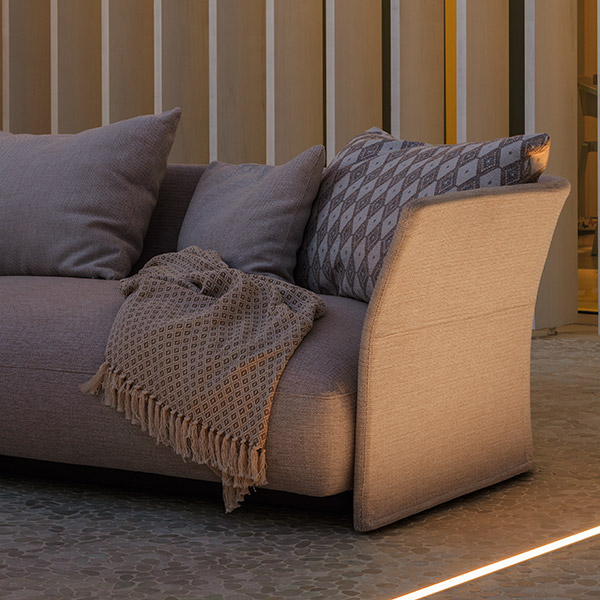 close-up: state-of-the-art design on upholstered back and generously thick seat cushions (back & throw pillows optional)