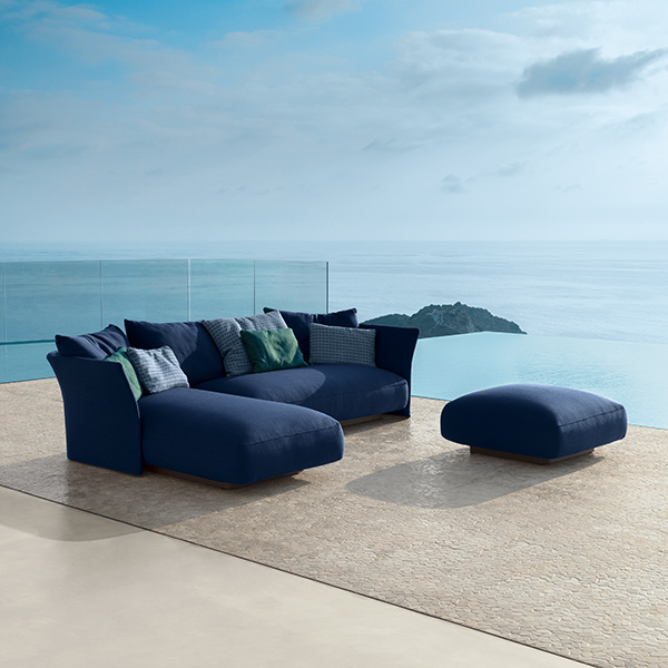 heaven right next to your pool: cliff sofa longue DX and sofa SX with pouf in blue (back & throw pillows optional)