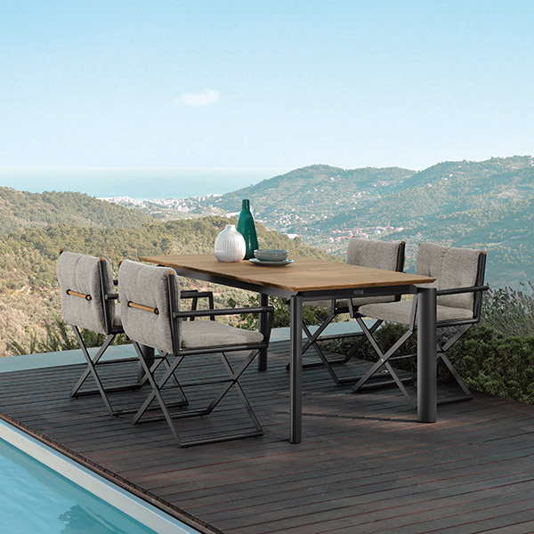 """aesthetic dining: four domino director chairs enveloping domino's 63-85"""" extendable dining table (here not extended 
