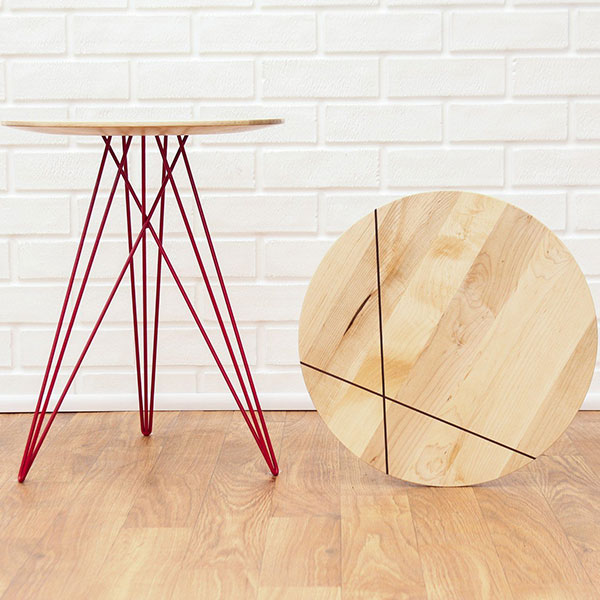 "hubbard 18"" side table in maple with walnut inlay and red metal legs"