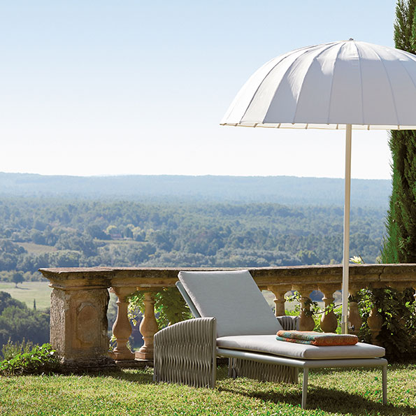 elegant parasol paired with the basket chaise lounge