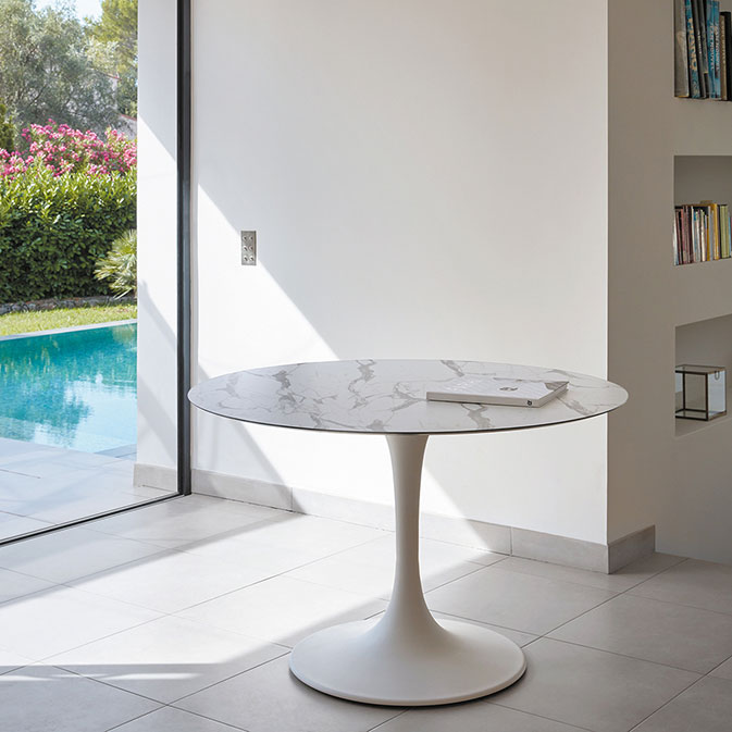indoors or outdoors: sifas' korol round dining table with HPL top in marble finish is a beauty by itself