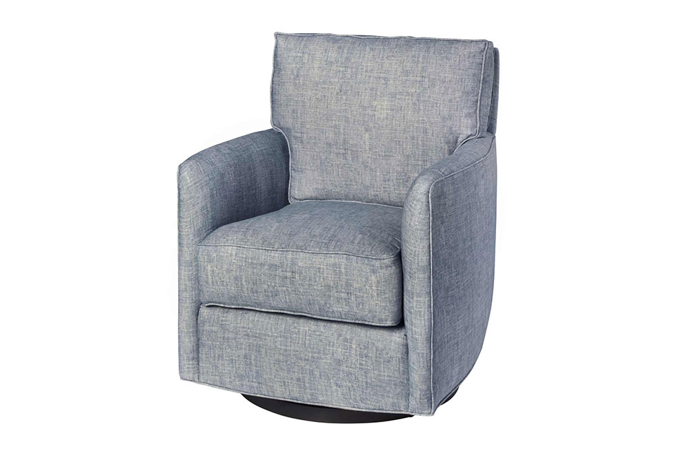 pictured in nolita denim; various swivel bases available as an upgrade option; button leg comes standard