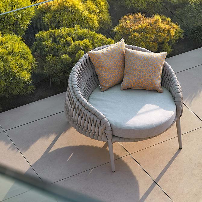beautiful by itself: kalife round lounge chair w/ natte grey chine cushion and edgar throw pillows (all included)