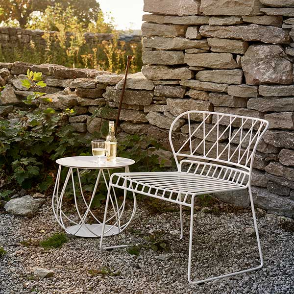 """enjoy the last rays of sunshine: reso lounge chair white with 18"""" reso lounge table (all quick ship)"""