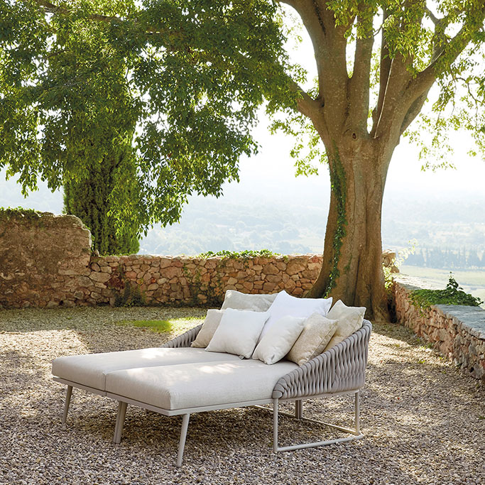 take a nap under the tree on the right and left chaise loungers kissed together to make a daybed
