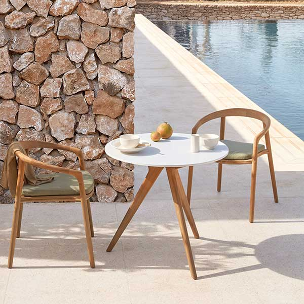 """just big enough: 32"""" bistro table (frame: teak, table top: marble white) and two solid armchairs in teak"""