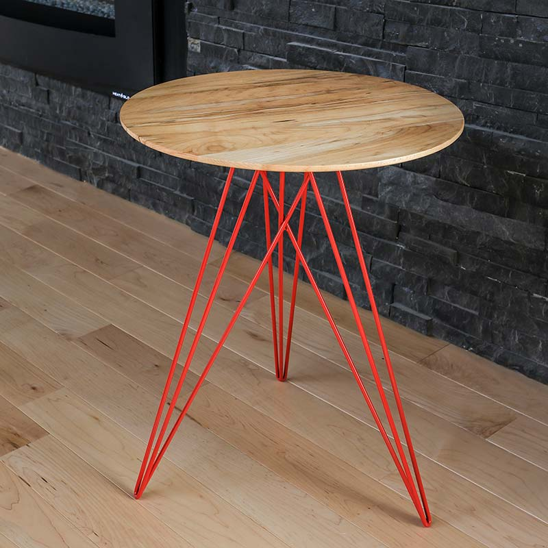 "perfect for a single-standing accent piece: hubbard 18"" side table with maple top and red powder-coated steel legs"
