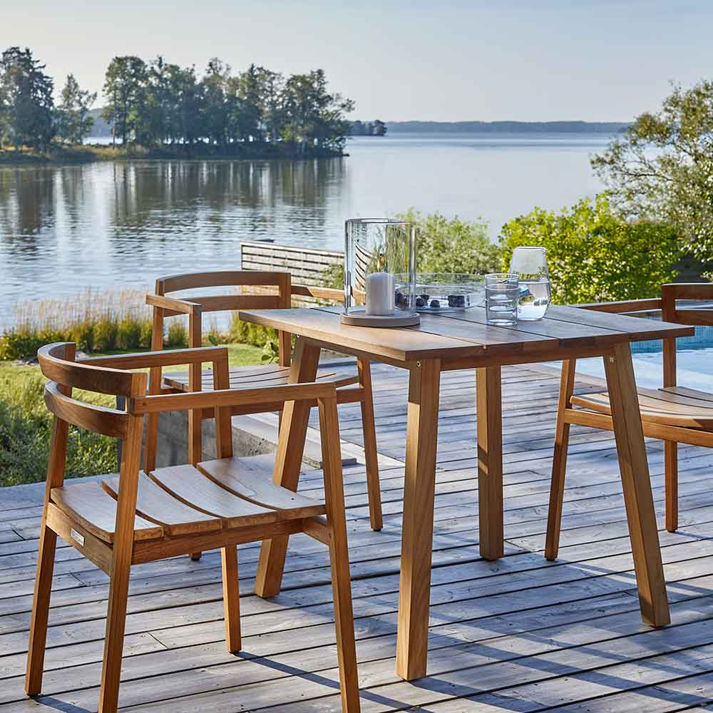 """on the dock by the bay: 32"""" square table with three oxno armchairs"""