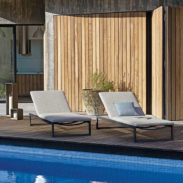 lounging poolside: liner lounger with wheels for ease of movement