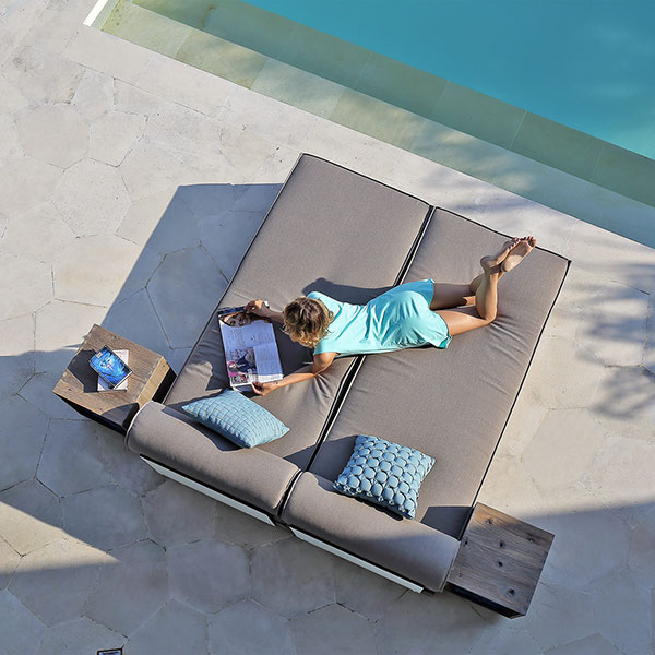 """bird's-eye view: 2 aiko loungers for a daybed with 17"""" square rolling table to each sideimage provided courtesy of mamagreen, llc."""