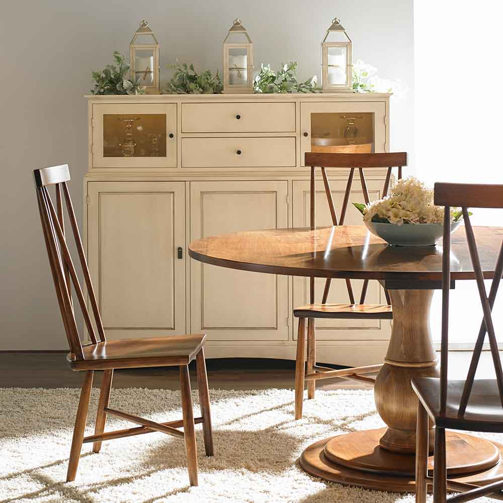 taylor table, addison chairs, and the chase cupboard
