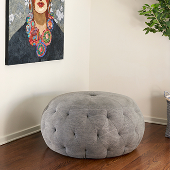 """or stage it as a single piece: 36"""" pouf round ottoman"""