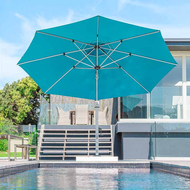 a splash of color: 13' octagonal eclipse cantilever in color turquoise