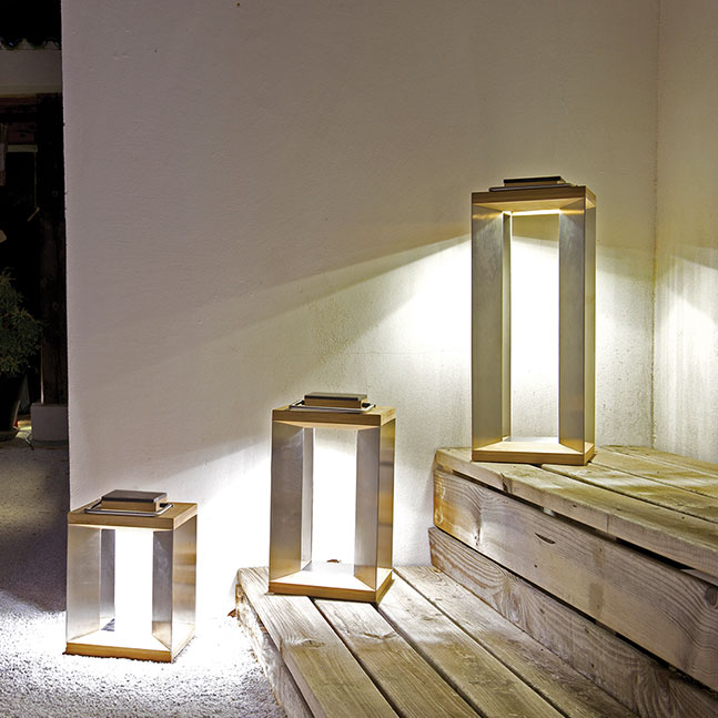 first impressions: blade small, medium and tall solar lanterns in natural teak and stainless steel