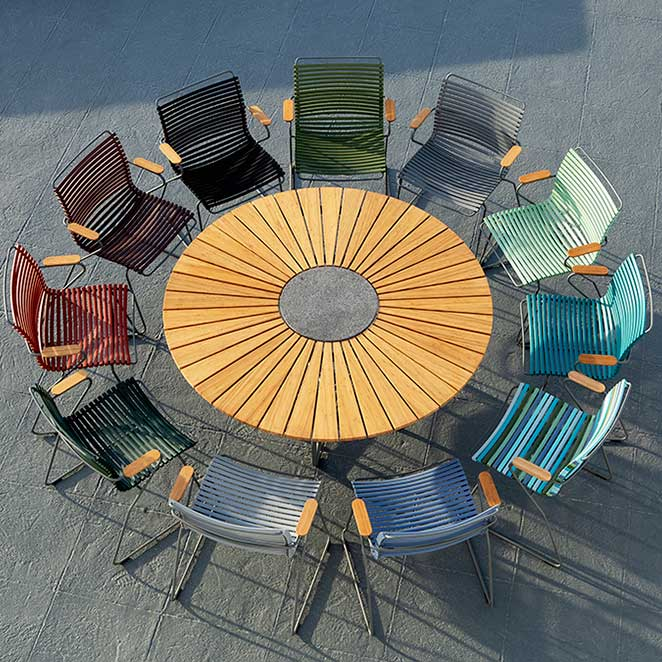 join the round: click dining armchairs encircling houe circle dining table