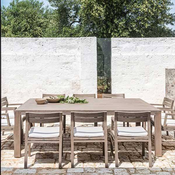 "elegant statement on the terrace: 95"" rectangular dining table with 10 dining armchairs (pickled teak/ nature white)"