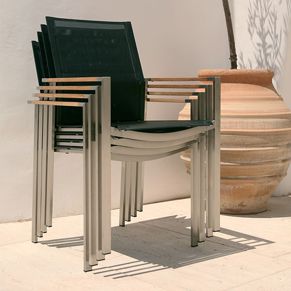 4 stacked mercury armchairs in charcoal textilene