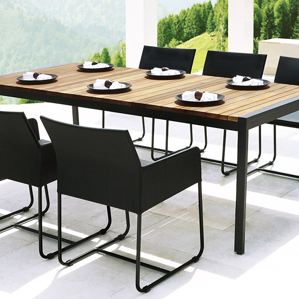 "perfect dining setting: zudu 87"" dining table with six dining armchairs in blackimage provided courtesy of mamagreen, llc."