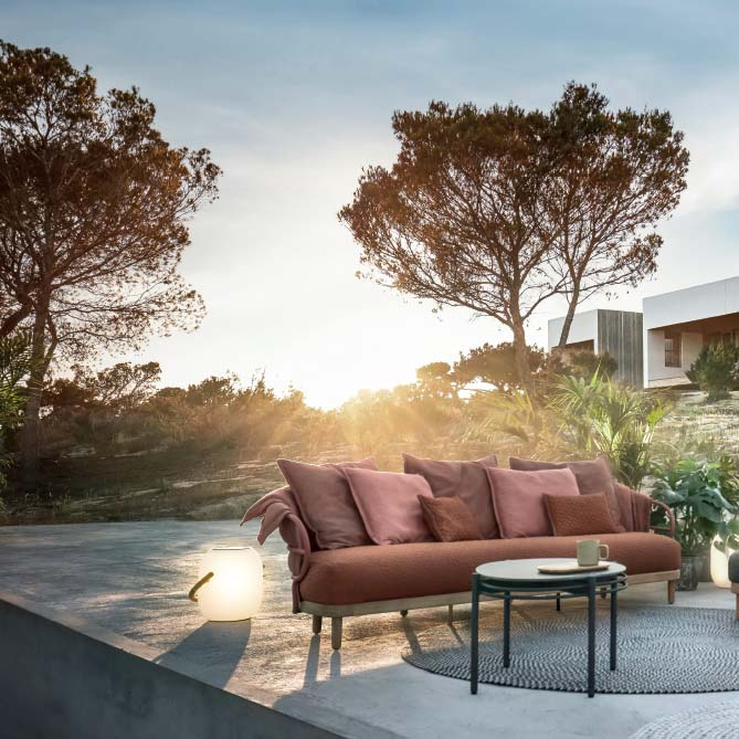 shining in any light: dune 3-seater sofa in a variation of fabric combination #3image provided courtesy of gloster furniture, inc.