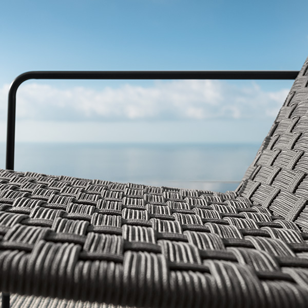 zooming in: dark grey nautical rope woven into an aesthetic seat