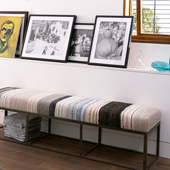 eye-catcher: 6-foot cruz bench with COM fabric (customized: non-tufted)