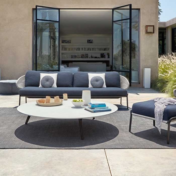 blue oasis: radius 3-seater sofa with two 1-seater plus medium footstool (lava frame | silver rope)