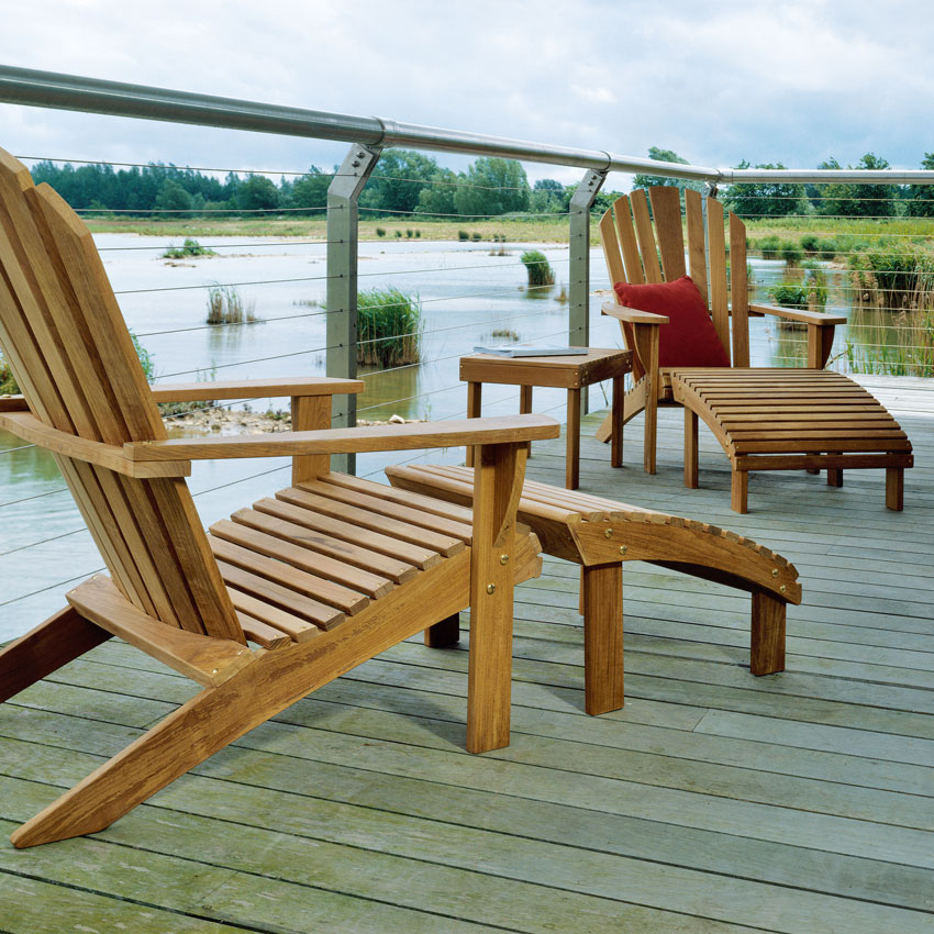 """two adirondack armchairs with footrest facing each other and adirondack 25"""" side table (throw pillow opt.)"""