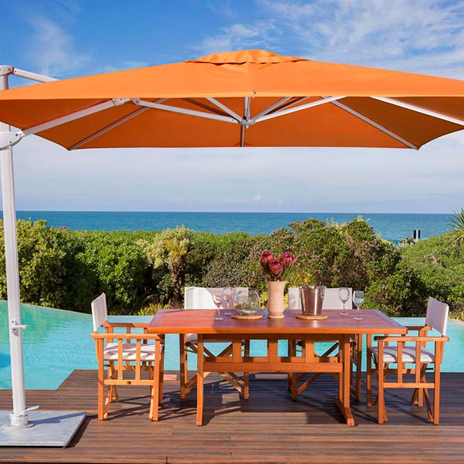 functional beauty: 9.8' pavone square foldaway cantilever umbrella with sunbrella canopy in tuscany
