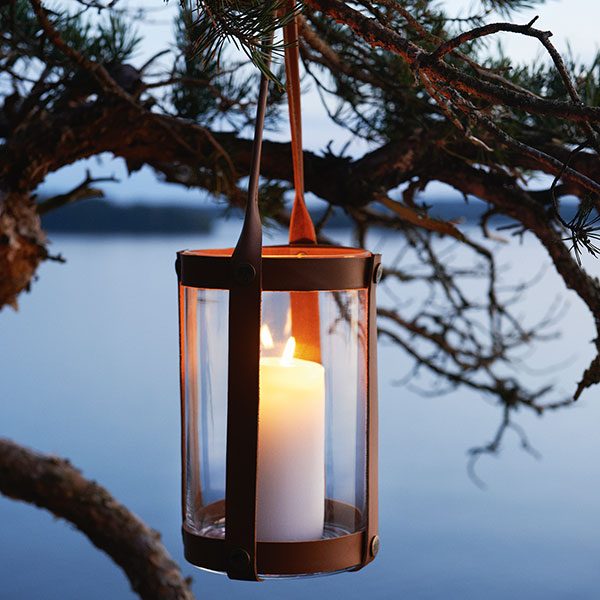 add some ambience: skargaarden's marstrand candle lantern in dark brown leather and clear glass