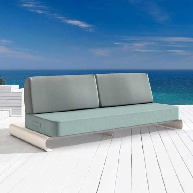 on the patio or in the pool: joanne sofa floats on water