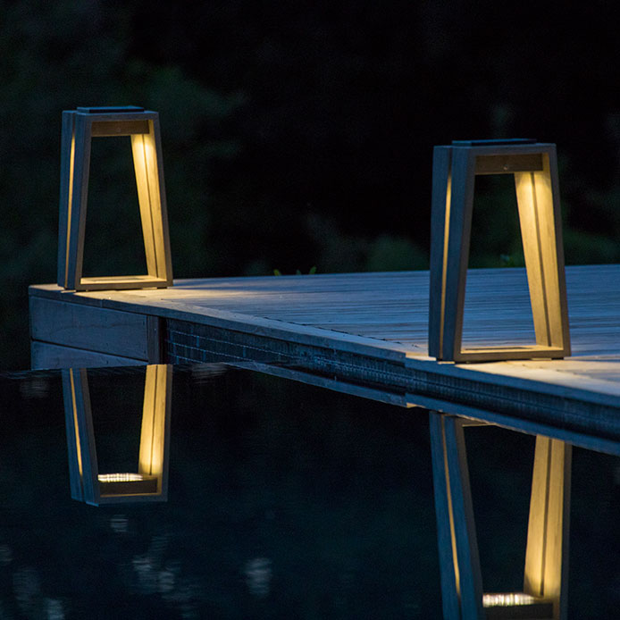 """extend your evenings outside: two 15"""" skaal solar garden lights in weathered teak"""