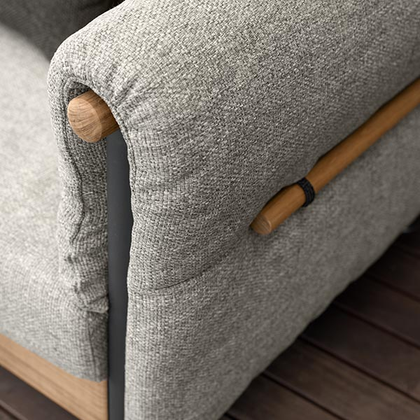 close-up: padded domino armrest (fabric: grey)