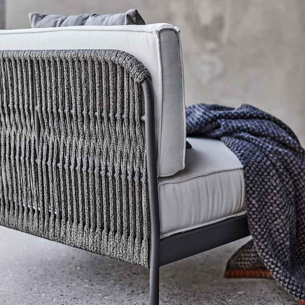 details up-close: durable all-weather rope creates a sturdy frame for cushions