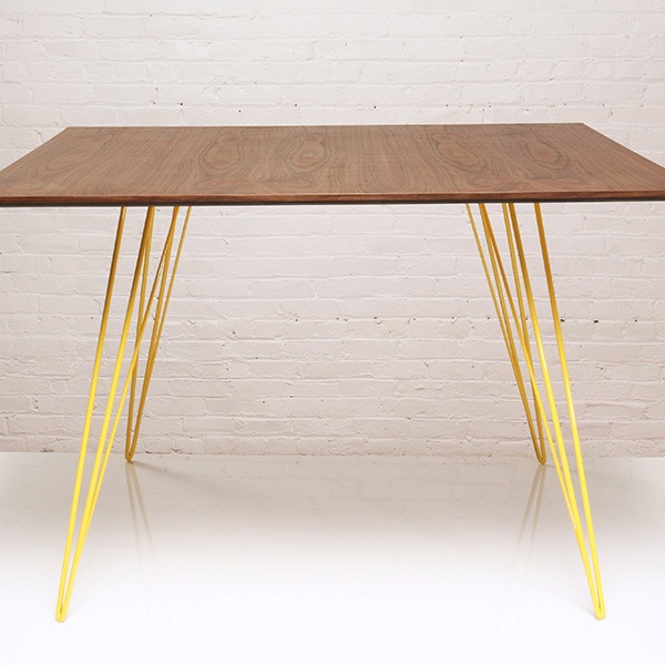 """filigree elegance: sidney 46"""" square dining table with walnut top and yellow-coated steel legs"""