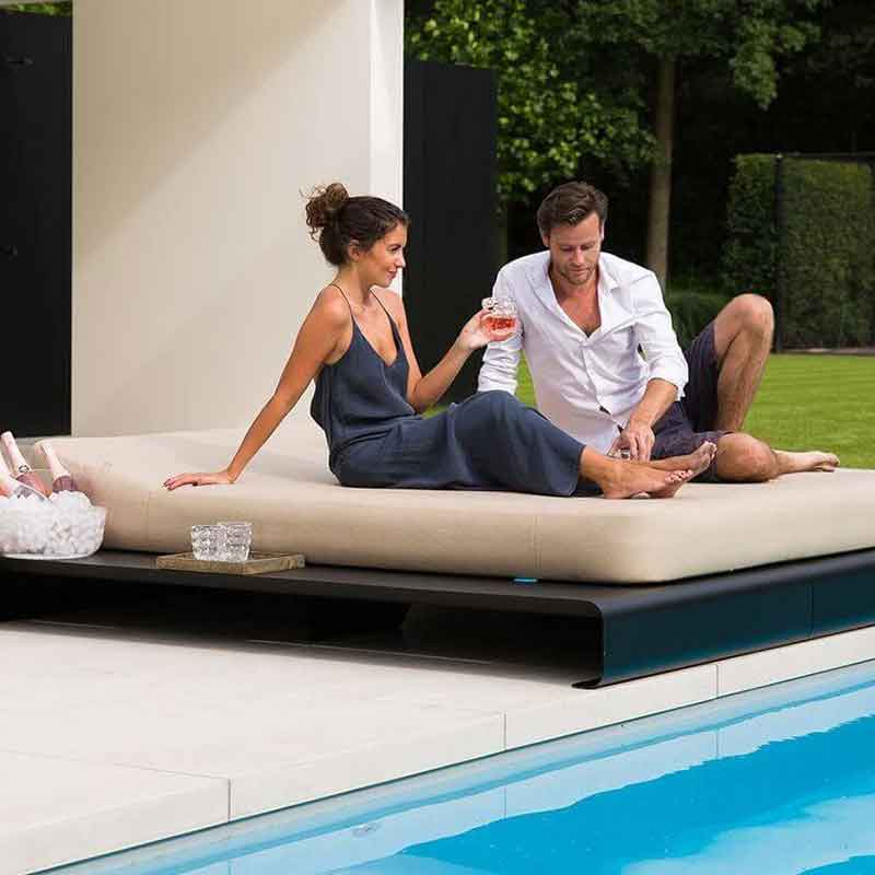 poolside conversation: jackie twin floating lounger atop lucille daybed