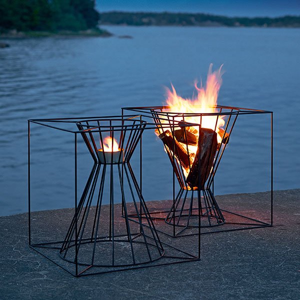 great companions: boo candle holder or fire pit available in black-painted or plain metal