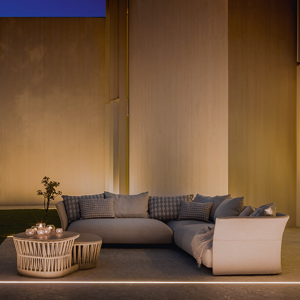 """outdoor elegance: cliff sofa DX (left), sofa corner (center), sofa SX (right) paired with 30"""" square coffee table medium and 35"""" coffee table big (beige 