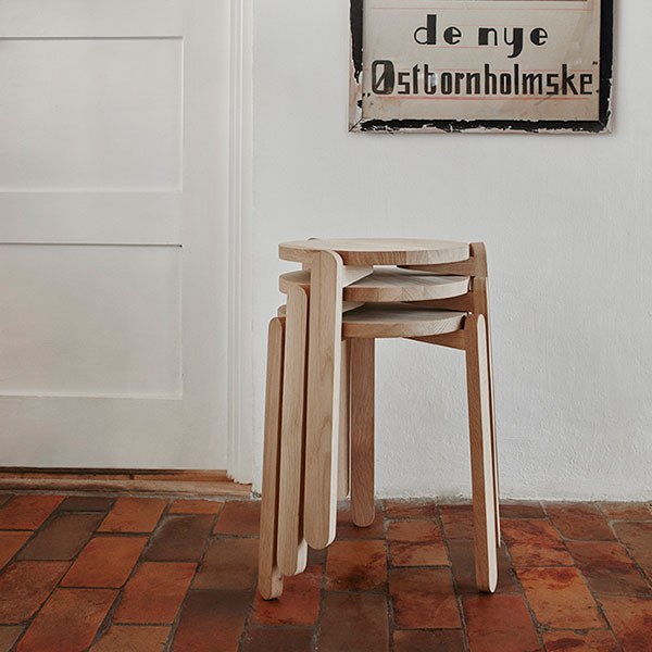 stackable up to four pieces: nomad stool (oak)